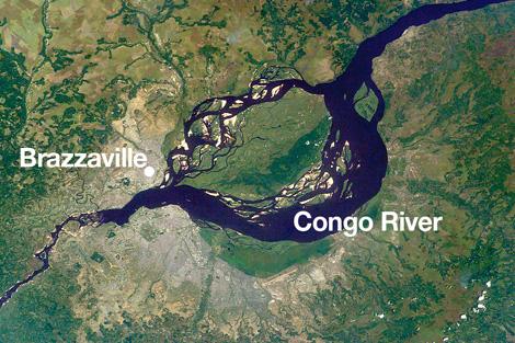 Satellite photo of Brazzaville and the River Congo