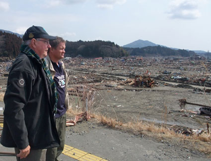 SBA President John Lawrence and SBA Director, Lasse Petersen survey the damage in Japan