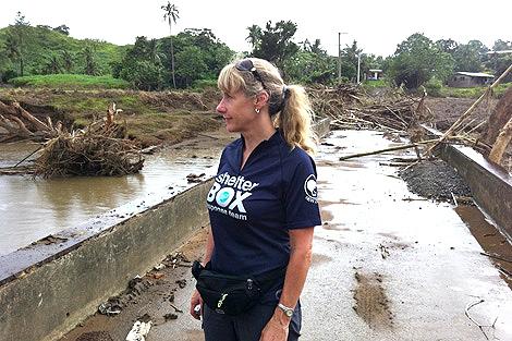 SRT Sally Fletcher in flood-hit Fiji