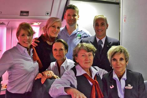 ShelterBox Response Team (SRT) volunteer Steve Crabtree (UK) on board his donated flight to Peru with Air Canada flight crew, April 2012.
