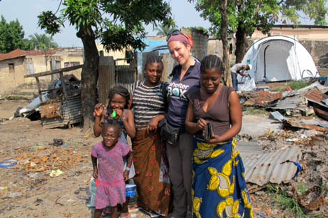 SRT volunteer Marie Mariotte (FR) with ShelterBox beneficiary in the Republic of the Congo, April 2012.
