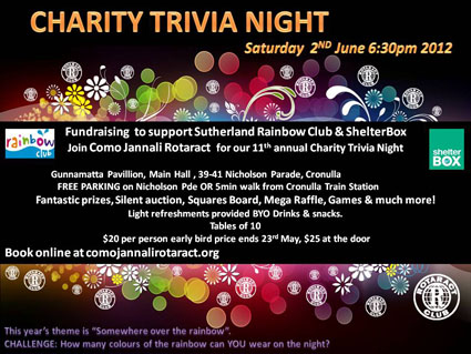 OFFICIAL Charity Trivia Night poster 2012