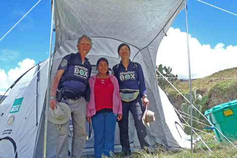 SRT volunteers Yi Shun Lai (US) and Graham Henerson (UK) with beneficiary in Peru, April 2012.