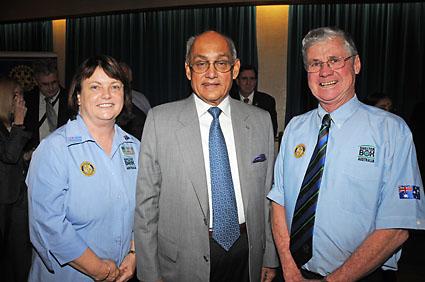 L-R Lorraine Croft, RI President Kalyan Banerjee, Peter Croft