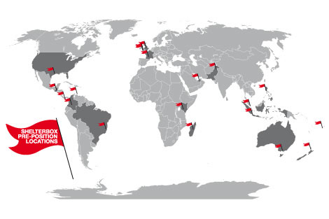 Map of locations where ShelterBoxes are currently prepositioned.