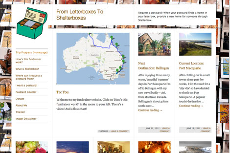 Screen shot of Letterbox to Shelterbox website