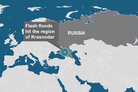 Map of the flood-hit area of Krasnodar region in southern Russia.