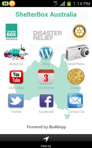 Screenshot of ShelterBox Australia's mobile app for Android