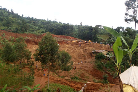 Photograph of the landslide and the surrounding area in the Bududa district, Uganda, July 2012.