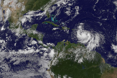 Satellite image of Tropical Storm Isaac taken from NOAA/NASA GOES Project, August 2012.