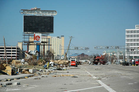 Photo taken during ShelterBox's response to Hurricane Katrina in 2005. Picture shows devastation in Louisiana caused by the Category 3 storm.