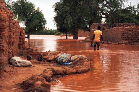 Photograph taken from the ShelterBox deployment to Niger in 2010: A makeshift flood barrier provided protection and access to one family home during the floods in Niamey.