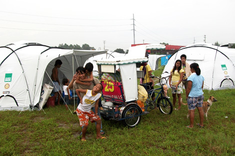 ShelterBox recipients at a camp set up in San Fernando, August 2012.