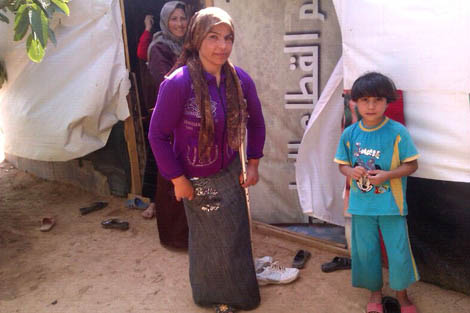 One of many Syrian refugee families in the Bekaa Valley, August 2012.