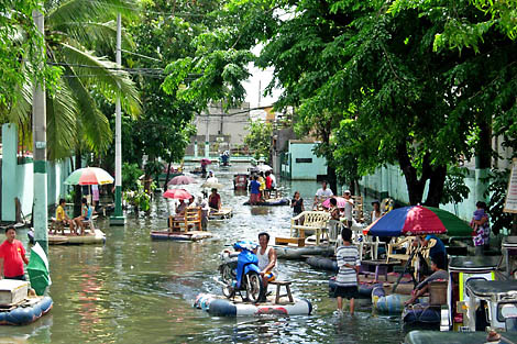 Flooded streets in Manila, the Philippines, following Tropical Storm Haikui, August 2012.