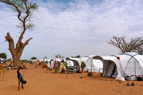 ShelterBox worked with WAHA International to set up this camp in Kollo District for families made homless by recent flooding, Niger, September 2012.
