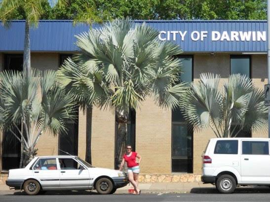 Image of Lara Marks-Nash having arrived in Darwin