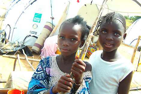 Children living in ShelterBox tents at the Kollo camp, Niger, October 2012.