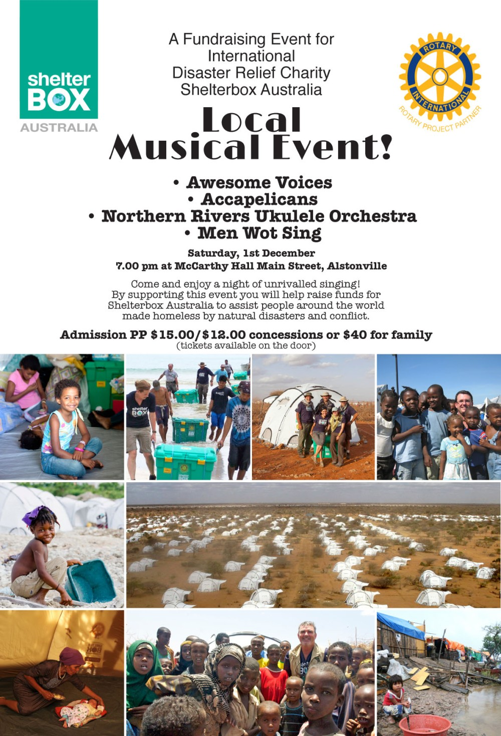 Poster for fundraising concert in Alstonville on 1st December
