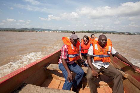 SRT member Derek Locke (US) en route to assess displaced communities on the River Benue, Kogi State, Nigeria, November 2012.
