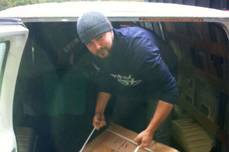 SRT member Todd Finklestone (US) delivering blankets to families in need in cold wintry New Jersey, USA, November, 2012.
