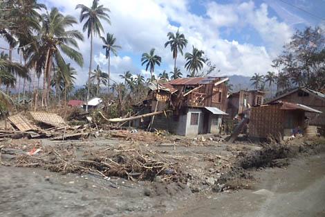 Destruction left behind by Typhoon Bopha in Compostela Valley, Philippines, December 2012.
