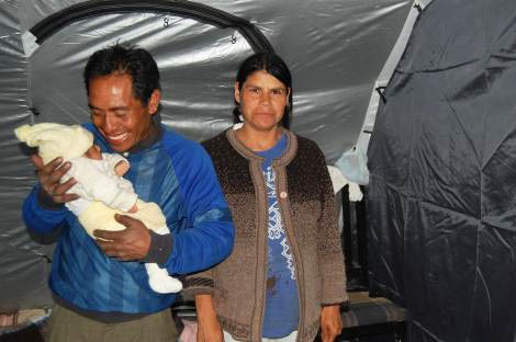 Marcos, Johanna and baby Xaviera in their ShelterBox tent, November 2012.