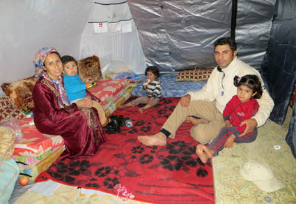 Syrian refugee make their ShelterBox their home in the Domiz camp, Iraq Kurdistan