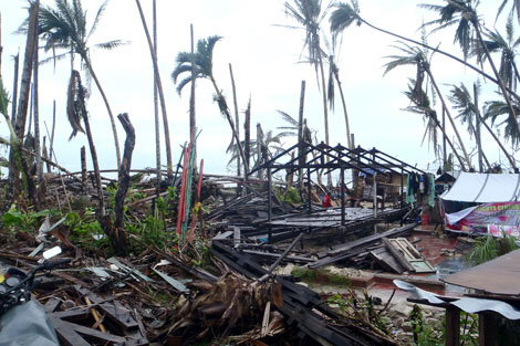 Destruction left behind in Davao Oriental Province along the eastern coast after Super Typhoon Bopha struck at the beginning of December 2012.