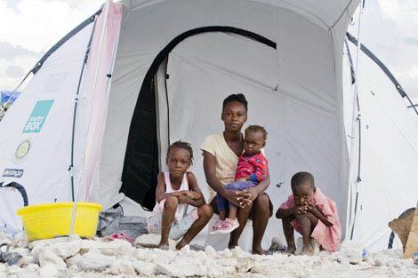 Family made homeless by Haiti's 2010 earthquake, Port-au-Prince.