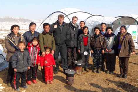 Operations Manager and SRT member Alf Evans (middle left) with beneficiaries, DPRK, January 2013.