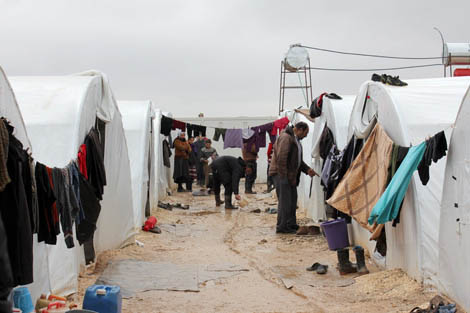 Internally displaced Syrian families living at Al-Salameh camp in Syria in tents provided for them by the camp management authorities, December 2012.