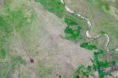 Satellite image of Mozambique before the floods. Photo credit: NASA's Earth Observatory