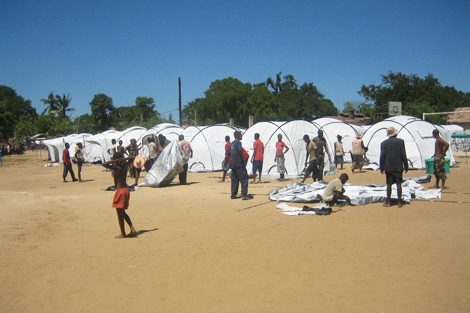 ShelterBox tents going up for families made homeless by Cyclone Haruna at the army base football field in Toliara in the southwest of Madagascar, March 2013.