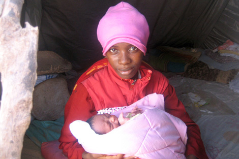 Avisoa and her four-day-old baby Harina, Madagascar, March 2013