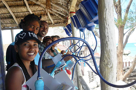 Field workers from Blue Ventures being trained to use the LifeStraws, Madagascar, March 2013. Credit: Blue Ventures.