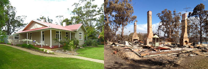 The Walker family home, Brynmoor, before and after the fires