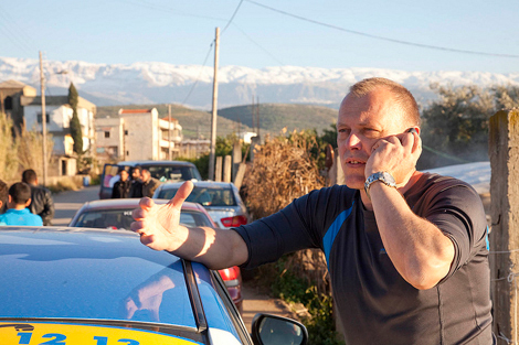 ShelterBox Response Team member Gerry De Vries working to distirbute aid in Lebanon in March 2013.