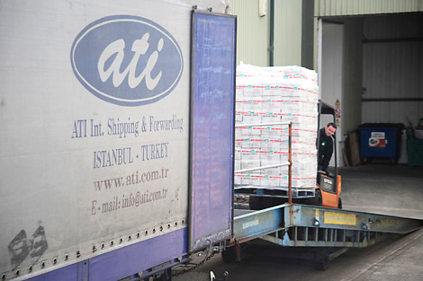 ShelterBox aid being loaded onto truck at its headquarters in Cornwall, UK, before heading to Syria via Turkey, April 2013.