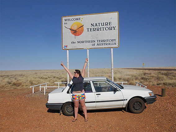 """The car's made it this far!"" Lara crosses into the Northern Territory."