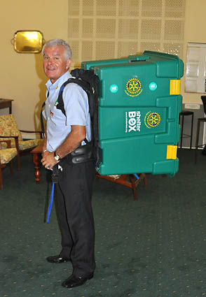 ShelterBox Response Team member and Rotarian, Peter Pearce with his specially adapted ShelterBox
