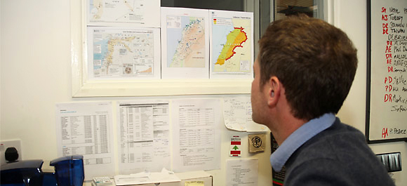 ShelterBox Operations Coordinator Phil Duloy at work in the ShelterBox Operations office.