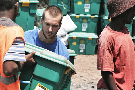 SRT member Eric DeLuca (US) on a previous ShelterBox deployment in the Democratic Republic of Congo, 2009.