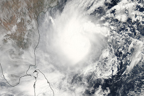Satellite image of Cyclone Mahasen, NASA's Earth Data.