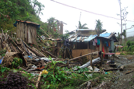 Homes destroyed by Typhoon Bopha, Mindanao island, Philippines, January 2013.