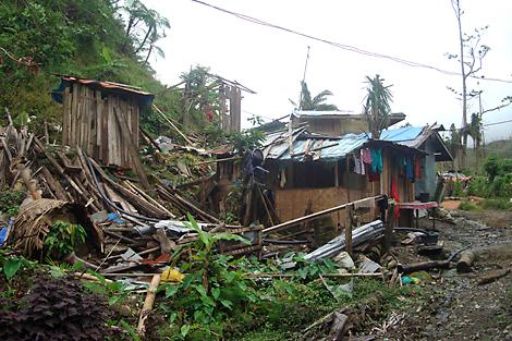 Homes destroyed by Typhoon Bopha, Mindanao island, Philippines, January 2013.
