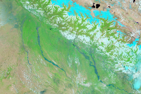 Photo credit: NASA's Earth Observatory. Satellite image of unusually severe monsoon rain that has caused devastating flooding in northern India and Nepal.