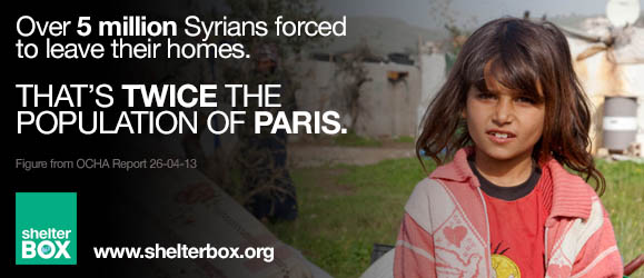 World Refugee Day 2013 - Over 5 million Syrians forced to leave their homes - that's more than twice the population of Paris