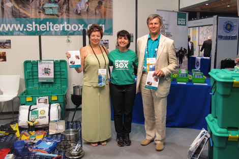ShelterBox Global Scout Partnerships Coordinator Melissa Casagrande with Rotarians from Krasnodar, Russia who assisted with ShelterBox's deployment in Russia in 2012.