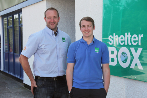 Chris Hale (left) and Rob Dooley (right) at ShelterBox headquarters, Cornwall, UK, July 2013.